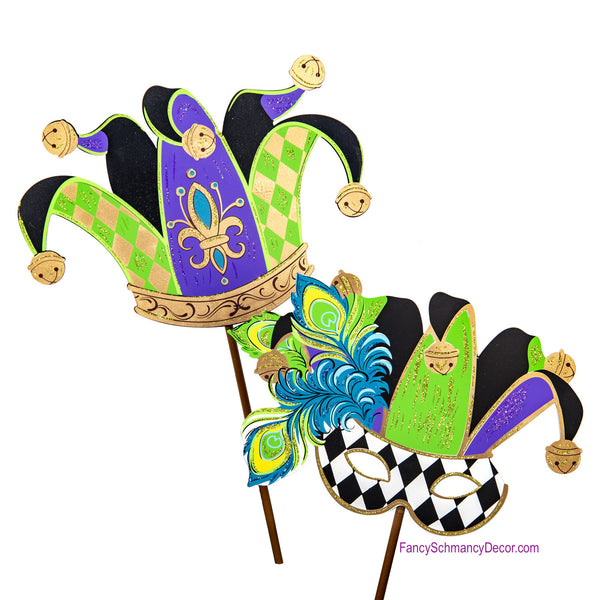 Mardi Gras Jester Mask and Hat Stake by The Round Top Collection V19073