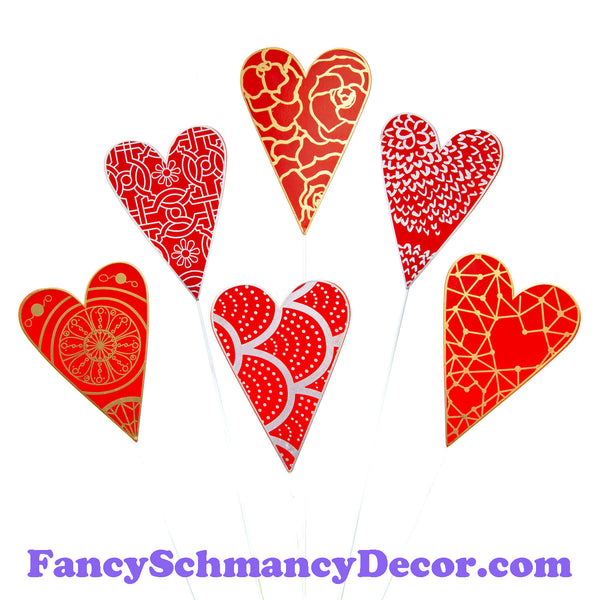 Red Designer Hearts S/6 by The Round Top Collection V19011