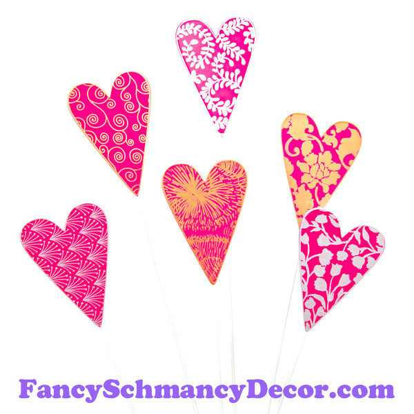 Pink Designer Hearts S/6 by The Round Top Collection V19012