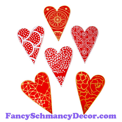 Red Designer Heart Magnets S/6 by The Round Top Collection V19014