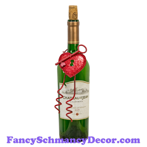 Red Key & Heart Bottle Charm by The Round Top Collection V19025
