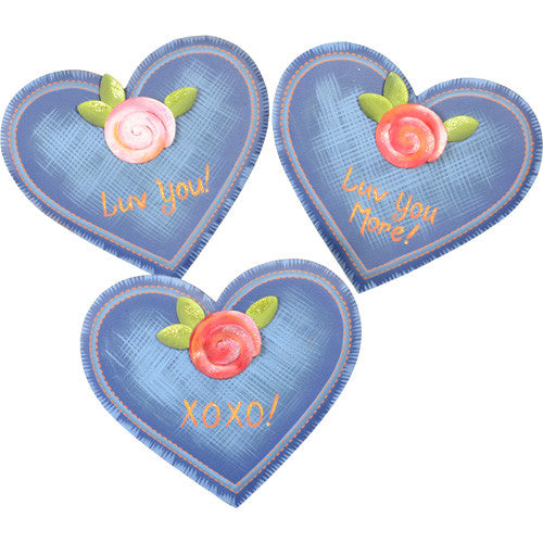 Denim Heart Magnets - Asst. 3 by The Round Top Collection V8007 - FancySchmancyDecor
