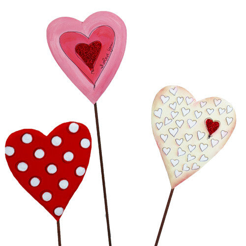 Valentine Love Heart Trio - Assorted Set of 3 The Round Top Collection V8035 - FancySchmancyDecor