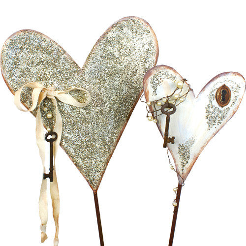 Vintage Heart Pair Stakes - Assorted 2 The Round Top Collection V8047 - FancySchmancyDecor