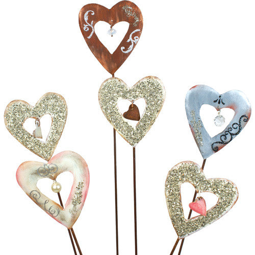 Vintage Heart Stakes Mini Assorted Set of 6 V8048 by The Round Top Collection - FancySchmancyDecor