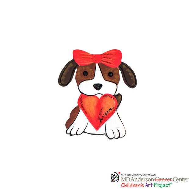 Valentine MD Anderson Allison's Pup with Heart Magnet - The Round Top Collection V9007 - FancySchmancyDecor