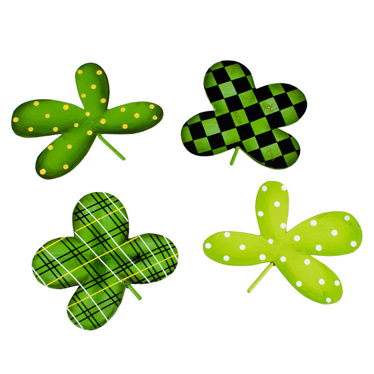 St. Patricks's Day Lucky 4 Leaf Clover Magnets - Asst. 4 The Round Top Collection - FancySchmancyDecor