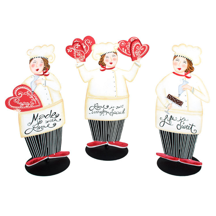 Valentine Made With Love Chef Trio - Asst. 3 The Round Top Collection V9040 - FancySchmancyDecor
