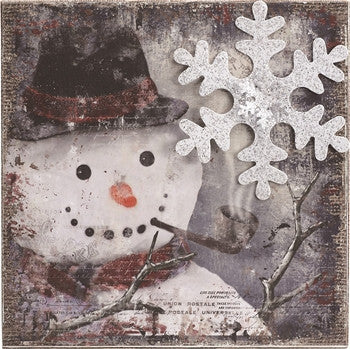 Holiday - Nostalgic Snowman Burlap Sign - FancySchmancyDecor