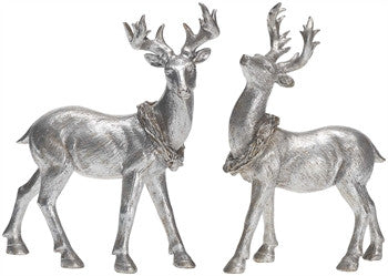 Holiday - Silver Standing Deer - FancySchmancyDecor