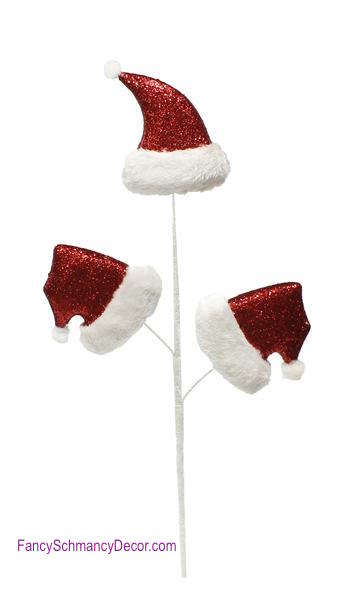 "28.5"" Glitter Santa Hat with Fur Spray Picks"