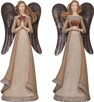 Metal Wing and Burlap Textured Angels