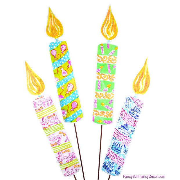Happy Birthday Candles Large Assorted 4 Stakes by The Round Top Collection Y1505