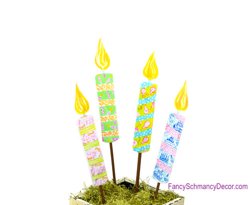Happy Birthday Candles Medium Assorted 4 Stakes by The Round Top Collection Y1523