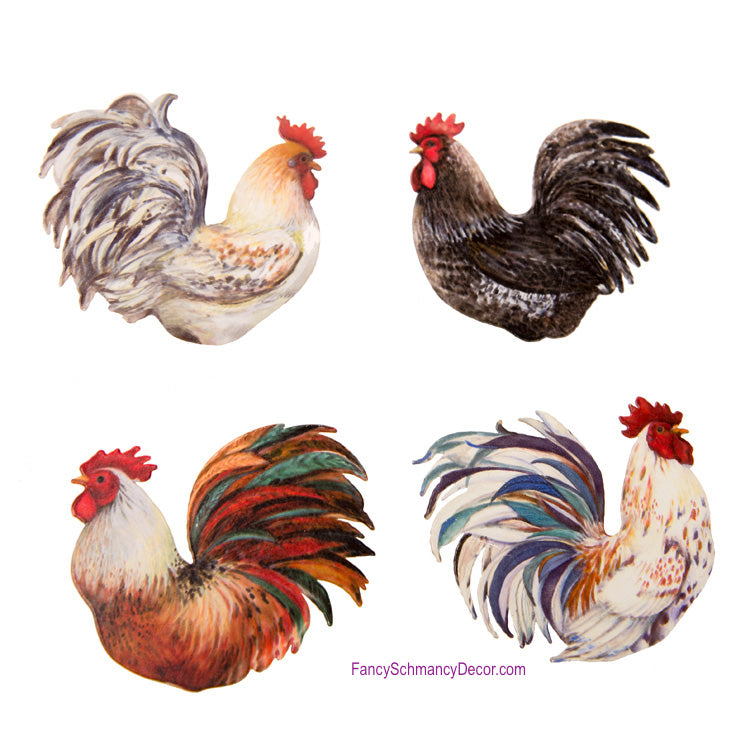Rooster Clip with Magnet Assorted Set of 4 by The Round Top Collection Y17056
