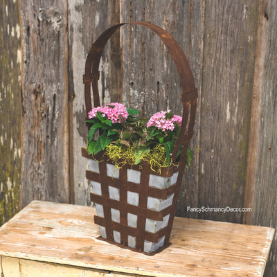 Galvanized Rust Basket by The Round Top Collection