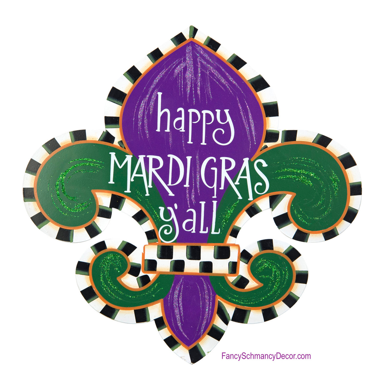 """Mardi Gras Y'all"" Fleur-De-Lis Large Stake by The Round Top Collection Y18054"