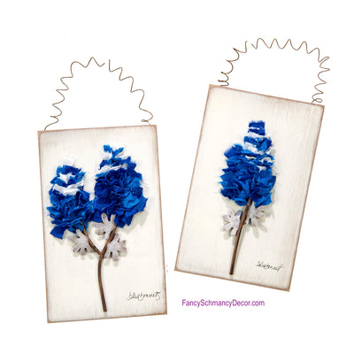 Fabric Bluebonnet Sign Wood Metal Sign