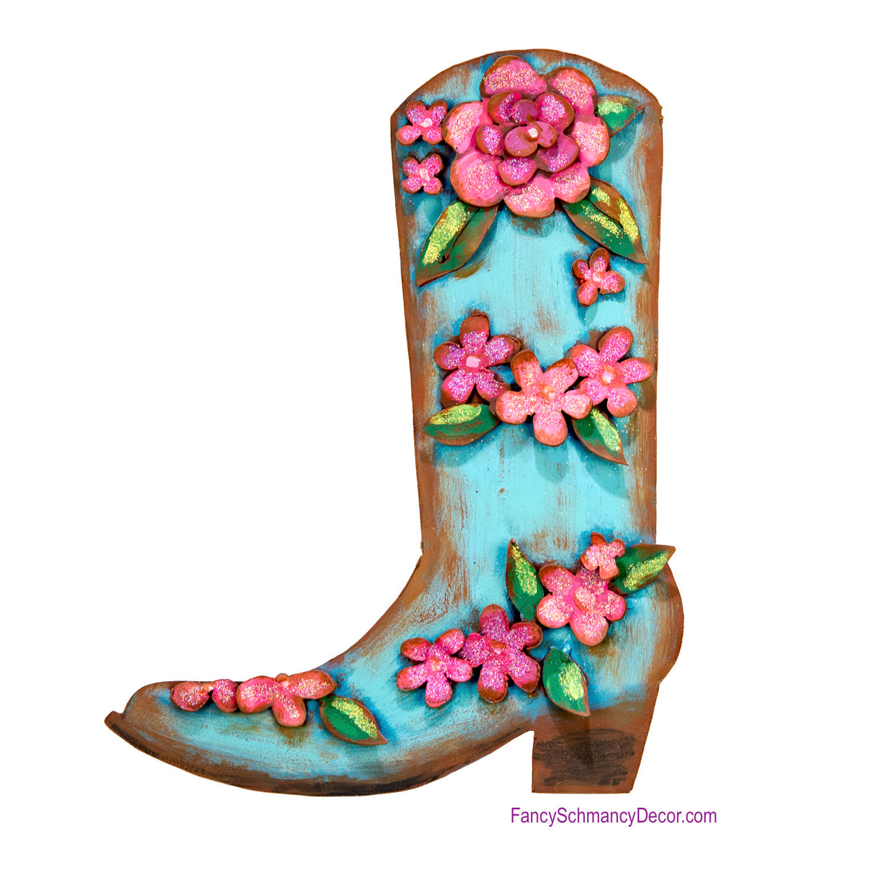Junk Gypsy Turquoise Pink Flower Boot by The Round Top Collection Y18315