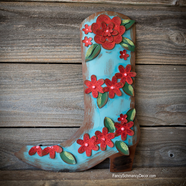 Junk Gypsy Turquoise Red Flower Boot by The Round Top Collection Y18316