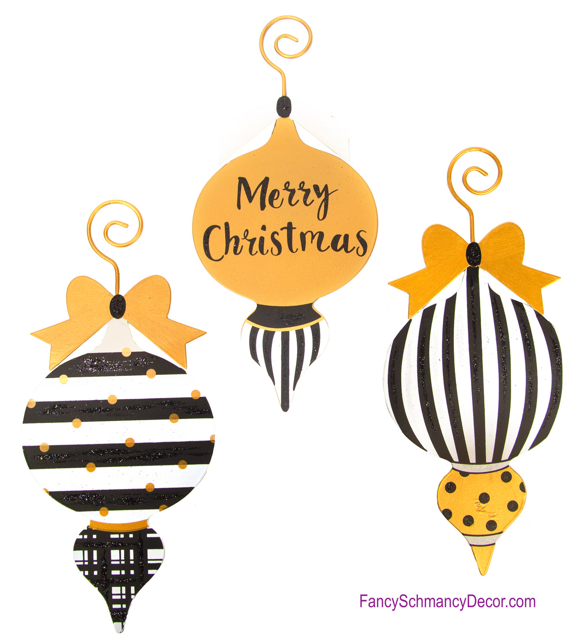 "Black and Gold ""Merry Christmas"" Assorted Set of 3 Ornaments - The Round Top Collection C17062"