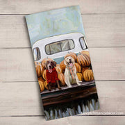 Fall - Lab Pups In Truck Tea Towel