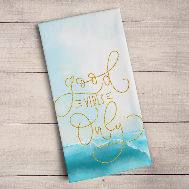 Good Vibes - Gold Glitter Tea Towels