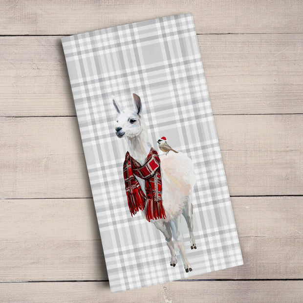 Holiday Collection - Plaid - Embellished Llama Tea Towels