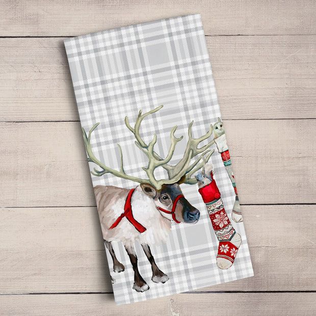Holiday Collection - Plaid - Embellished Reindeer Tea Towels