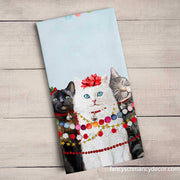 Holiday - Festive Cat Trio Tea Towel