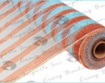 "21"" Turquoise Orange Stripe Deco Mesh"