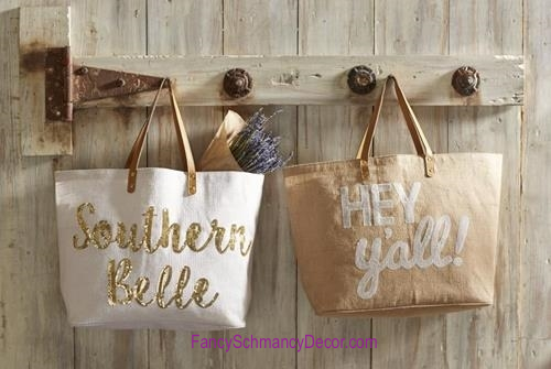 The Southern Belle Tote or HEY Y'all Tote by Mud Pie - FancySchmancyDecor