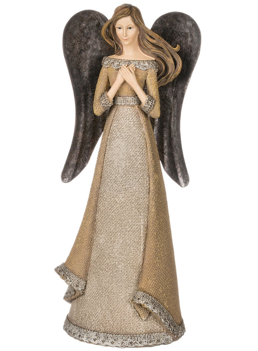 Burlap Texture and Metal Wing Angel