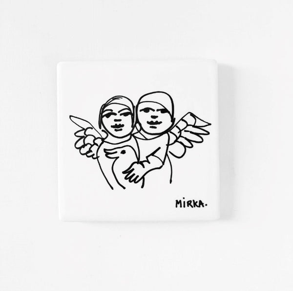 Mirka Mora Two Angels Single Coaster <br> Untitled 2
