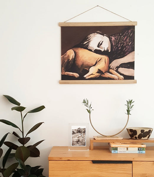 Girl With Dog Wall Hanging <br> Available for Pre-Order