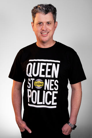 QUEEN STONES POLICE BLACK T-SHIRT