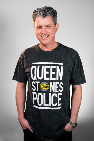 QUEEN STONES POLICE STONE WASHED T-SHIRT