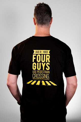 NEW:  Four Guys Use Pedestrian Crossing BLACK T-Shirt