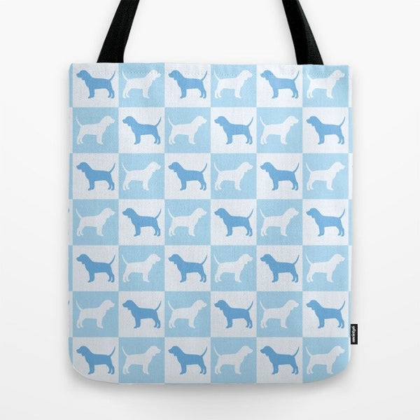 Beagle Check Series Tote Bag (Blue)