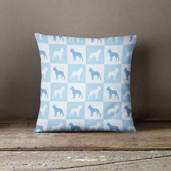 Boston Terrier Check Series Pillow (Blue)