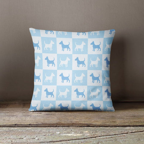 Bull Terrier Check Series Pillow (Blue)