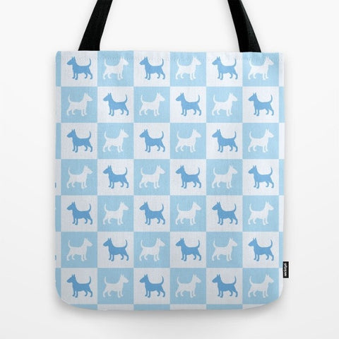 Bull Terrier Check Series Tote Bag (Blue)