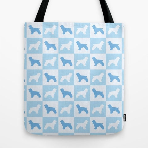 Cocker Spaniel Check Series Tote Bag (Blue)
