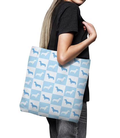 Dachshund Check Series Tote Bag (Blue)