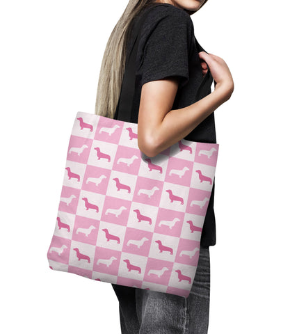 Dachshund Check Series Tote Bag (Pink)