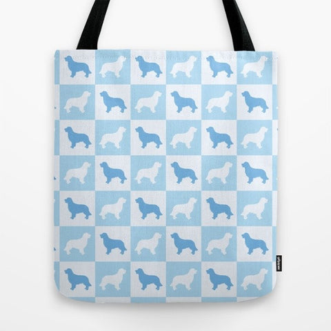 Golden Retriever Check Series Tote Bag (Blue)