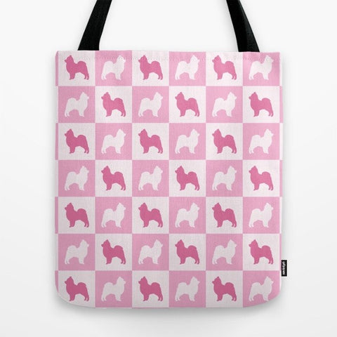 Pomeranian Check Series Tote Bag (Pink)