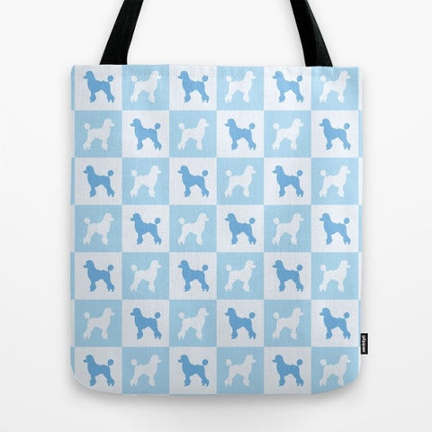 Poodle Check Series Tote Bag (Blue)