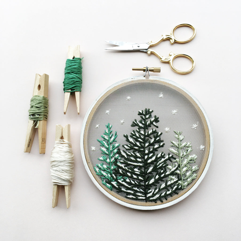 AUCTION: Snowfall Hand Embroidery Hoop by Gulush Threads