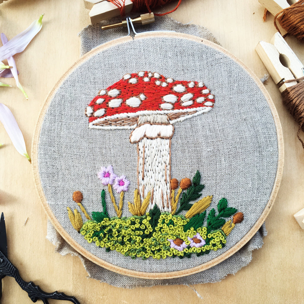 toadstool hand embroidery